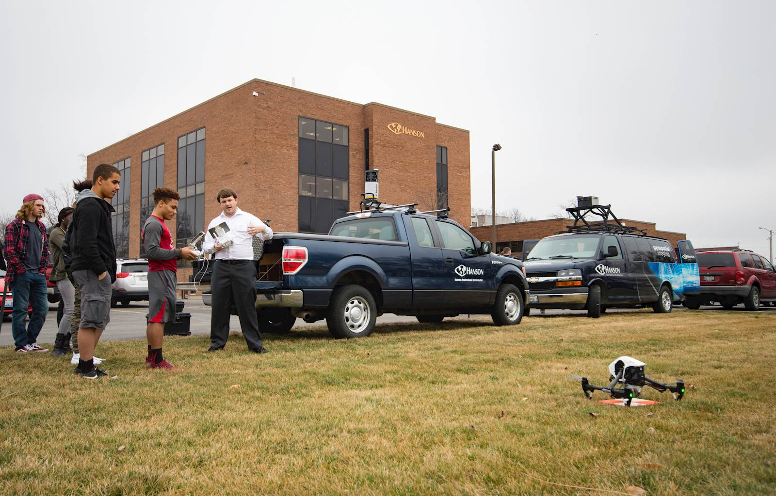 photo of Hanson employee conducting a drone demonstration for students