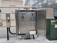 The lift station's electric controls consist of a pump controller connected to a cellular-based communication system that alerts the city to alarms at the station and provides pump operational data and station faults.