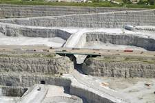 The Tri-State Tollway crosses the Thornton Quarry, one of the world's largest aggregate quarries.