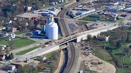 The addition of the three grade separations in Galesburg, Illinois, including the Donald L. Moffitt Overpass on West Main Street, has helped relieve traffic congestion and decrease noise from train horns throughout the city.