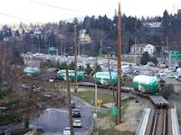 For the Cedar River bridge, design challenges included widening the bridge to accommodate rail shipments of wide body fuselages to the Boeing Aircraft Co. in Renton, Wash.
