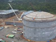 Liquefied natural gas (LNG) tanks were constructed to store 36 million gallons of LNG, under pressure and at low temperatures.
