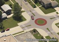 Capitol Avenue's transitional focal point – a roundabout – is a feature that will link the commercial downtown area with the residential neighborhood to the east.