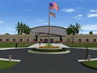 A rendering of Camp Blanding's Special Forces facility is shown.