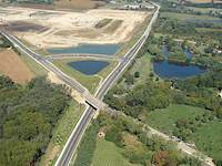 This aerial view shows the completed Fairfield and Gilmer interchange. It was opened to traffic in the fall of 2007.