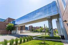 A pedestrian skywalk connects the Springfield Clinic 1st facility with the existing Springfield Clinic building on First Street.