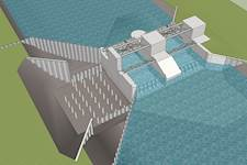 This rendering shows the design of the new dam gates.
