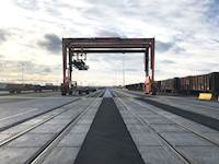 Hanson provided design engineering and construction management services for the cantilevered rubber tire gantry crane expansion at BNSF Railway Co.'s Corwith Intermodal Facility in Chicago.