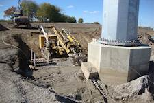 Hanson's foundation designs have included soil tie back-augmented drilled piers, decreasing the amount of concrete and reinforcement for high-angle monopole structures.