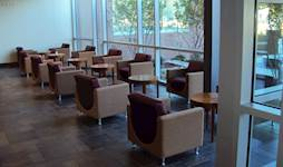 This sleek, contemporary seating area located on the first floor of NCCU's Nursing Building offers students and faculty a convenient, accessible place to meet, talk or relax in between classes.