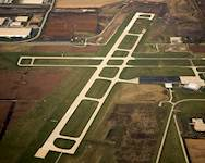 An aerial view of Lewis University Airport's Runway 2-20 taken in November 2009 shows the completed, fully operational 6,500-foot-long runway.