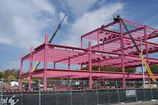 "The facility's structural frame was constructed of pink steel beams for the 2012 ""Pink Steel: Building Strength From Within"" event to recognize all those affected by breast cancer."