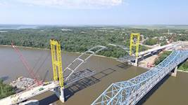 Hanson designed the 160-foot-tall temporary towers and cable stays to support the tied-arch bridge during erection. Hanson also analyzed the new tied-arch structure for structural adequacy during each phase of erection.