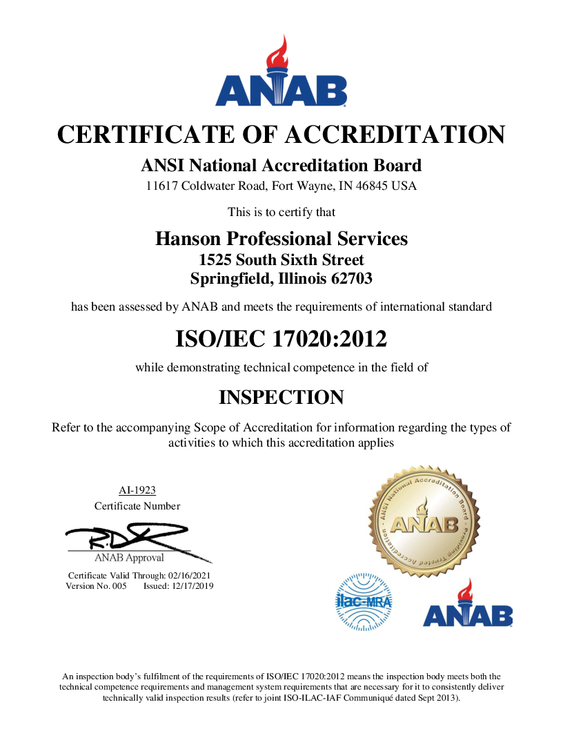 Cover image for ANAB certificate of accreditation